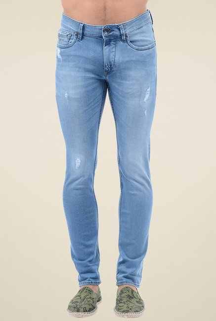 Flying Machine Steel Blue Cotton Skinny Fit Jeans
