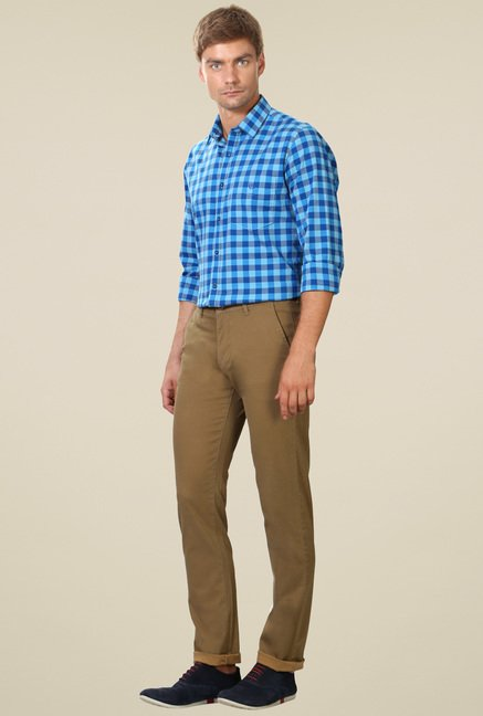 Van Heusen Khaki Mid Rise Slim Fit Trousers