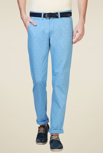 Van Heusen Sky Blue Slim Fit Mid Rise Trousers