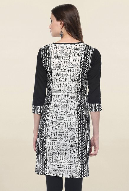 Jaipur Kurti Off White & Black Printed Cotton Kurti