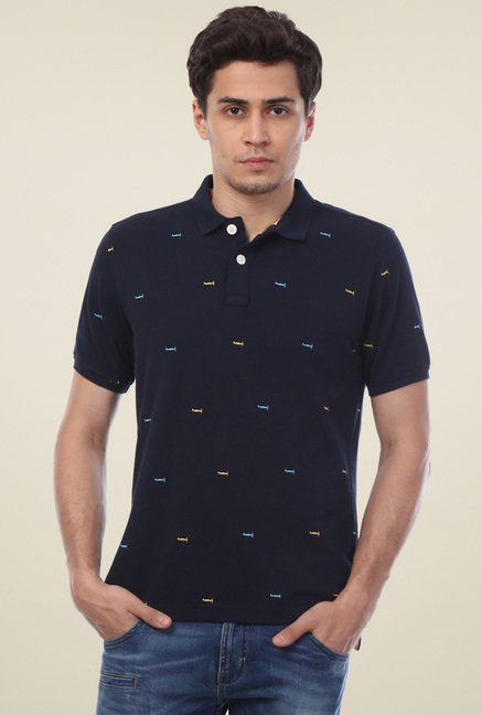 Van Heusen Navy Regular Fit Polo T-Shirt