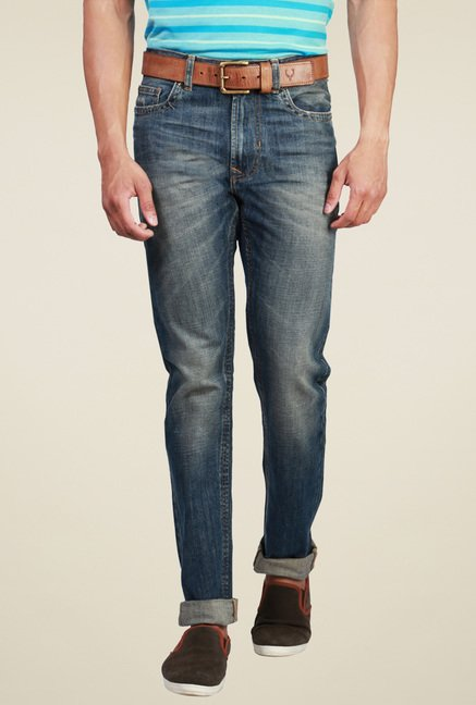Peter England Stone Blue Comfort Fit Jeans