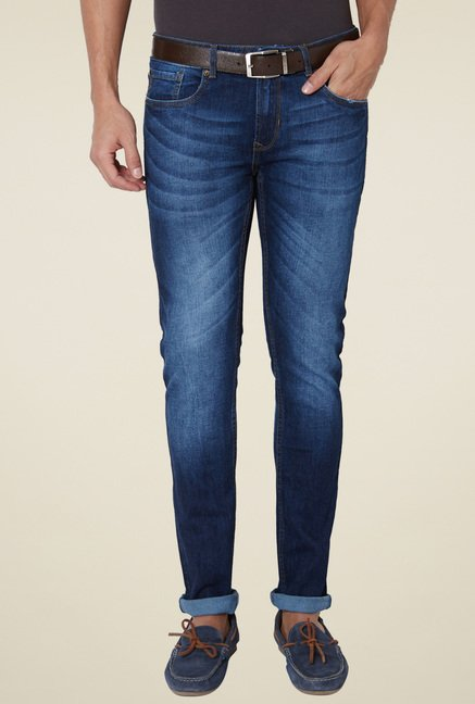 Peter England Dark Blue Mid Rise Lightly Washed Jeans