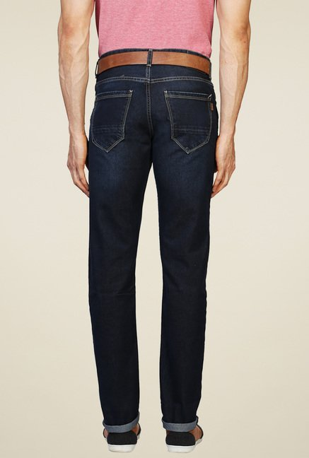 Peter England Navy Regular Fit Cotton Jeans