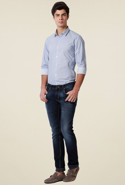 Peter England Navy Ultra Slim Fit Jeans