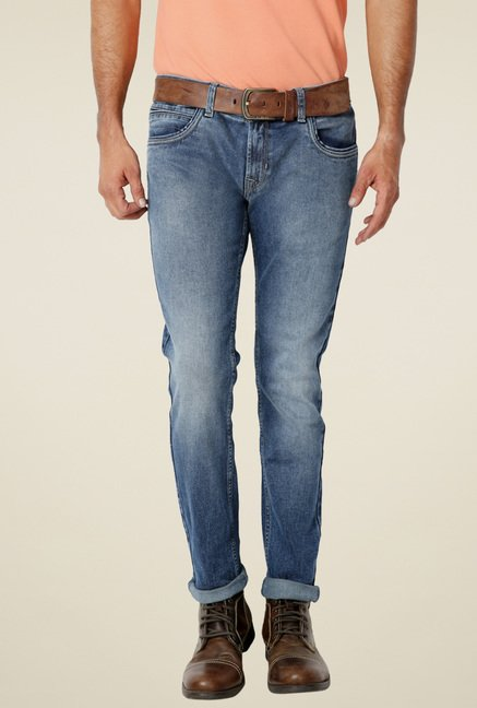 Peter England Light Blue Cotton Ultra Slim Fit Jeans