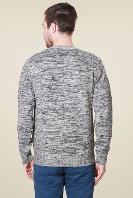 People Grey V-Neck Regular Fit Sweater