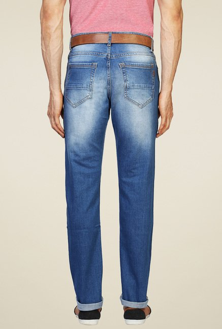 Peter England Blue Heavily Washed Jeans