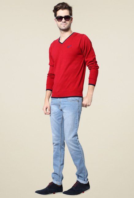 People Red V-Neck Slim Fit Sweater