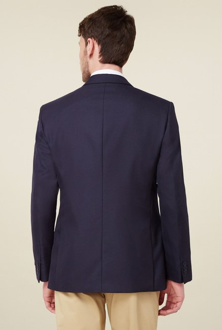 Peter England Navy Full Sleeves Slim Fit Blazer