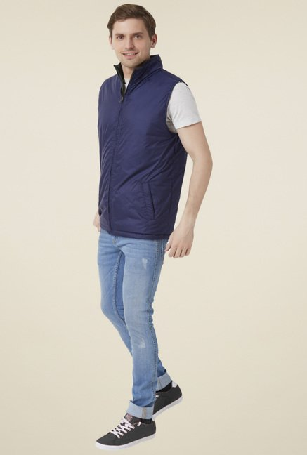 Peter England Navy & Black Sleeveless Reversible Jacket