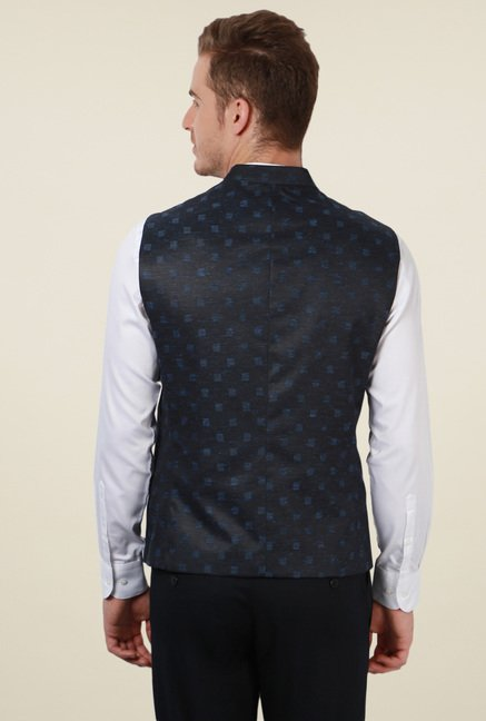 Peter England Navy Printed Sleeveless Jacket