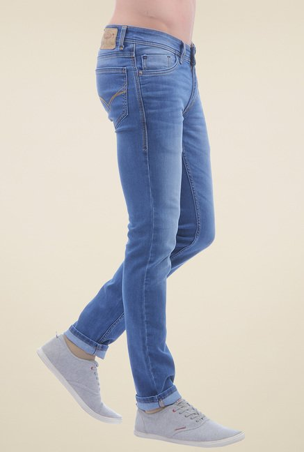 Flying Machine Pale Blue Low Rise Lightly Washed Jeans