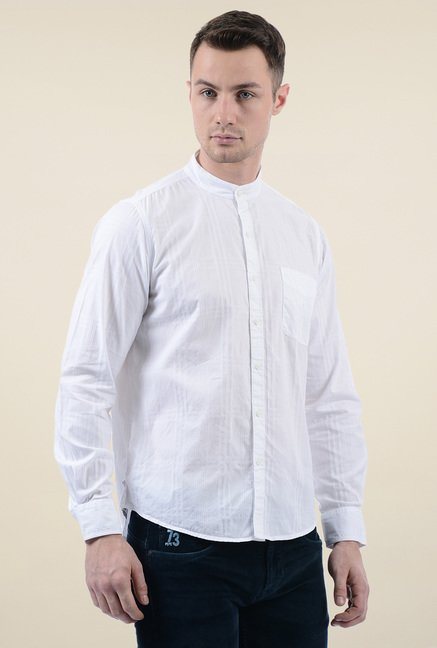 Pepe Jeans White Regular Fit Cotton Shirt