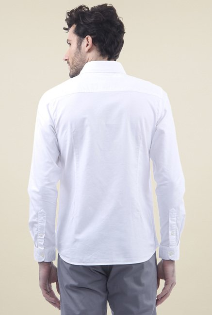 Flying Machine White Cotton Slim Fit Shirt