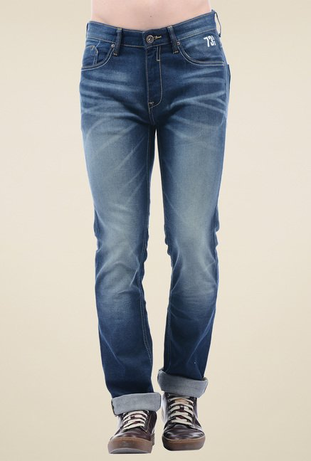 Pepe Jeans Blue Heavily Washed Mid Rise Cotton Jeans