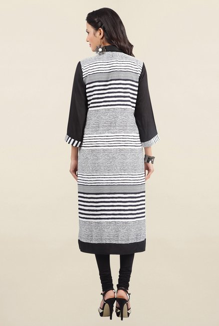 Jashn White & Black Striped Crepe Kurta
