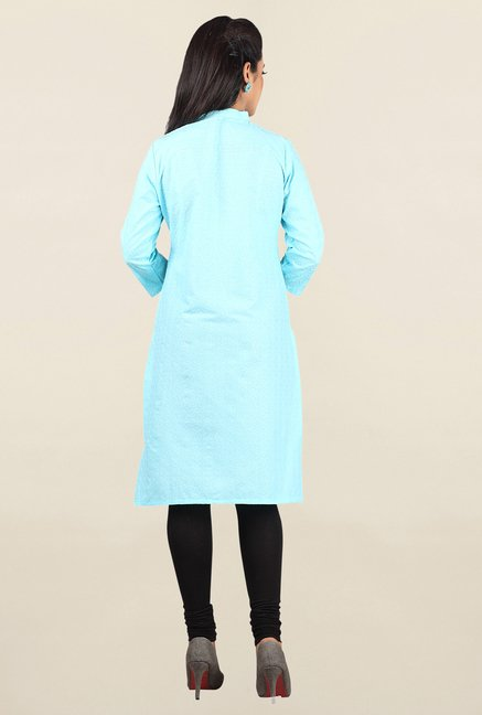 Jashn Light Blue Embroidered Cotton Kurta