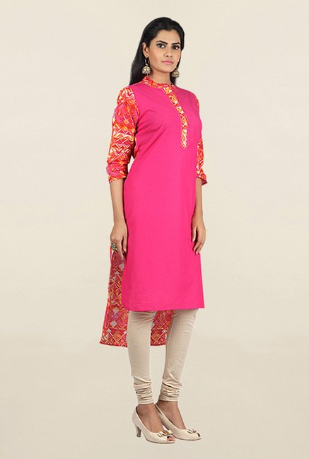 Jashn Pink Solid Cotton Kurta