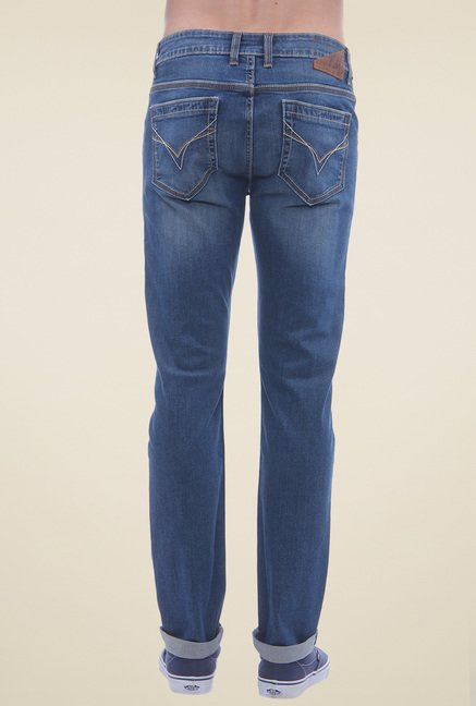 Flying Machine Blue Lightly Washed Cotton Jeans