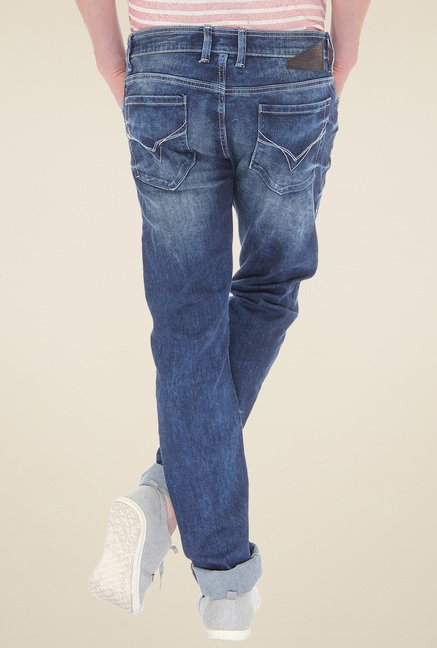 Flying Machine Dark Blue Heavily Washed Cotton Jeans