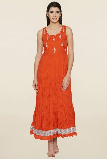 Globus Orange Embroidered Kurta