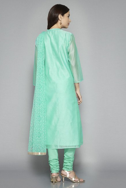Vark by Westside Sea Green Embroidered Suit Set