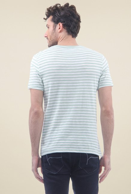 Flying Machine Sage Green & White Striped Cotton T-Shirt
