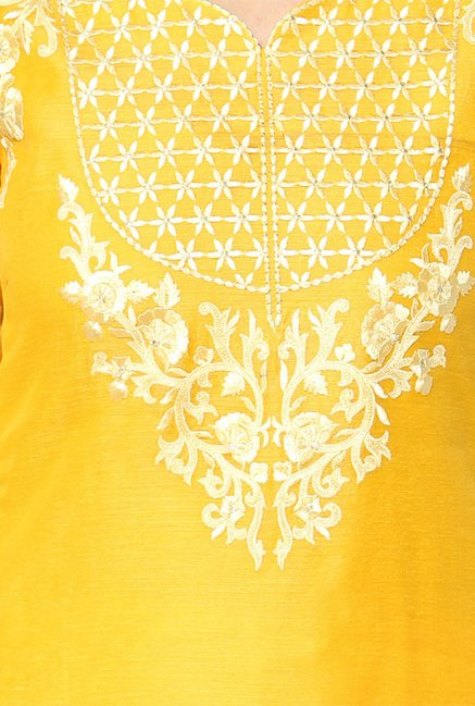 Jashn Yellow Embroidered Chanderi Dress Material