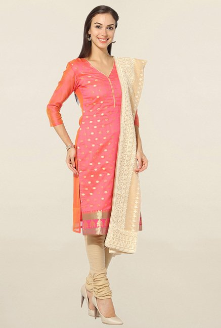 Jashn Peach & Beige Embroidered Chanderi Dress Material