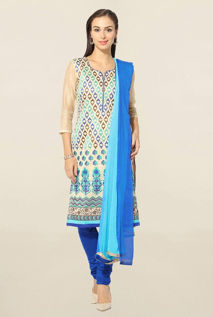 Jashn Beige & Blue Embroidered Chanderi Dress Material