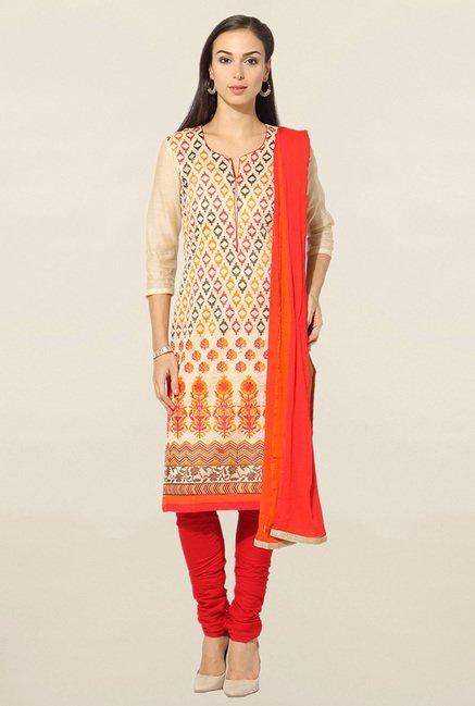 Jashn Beige & Red Embroidered Chanderi Dress Material