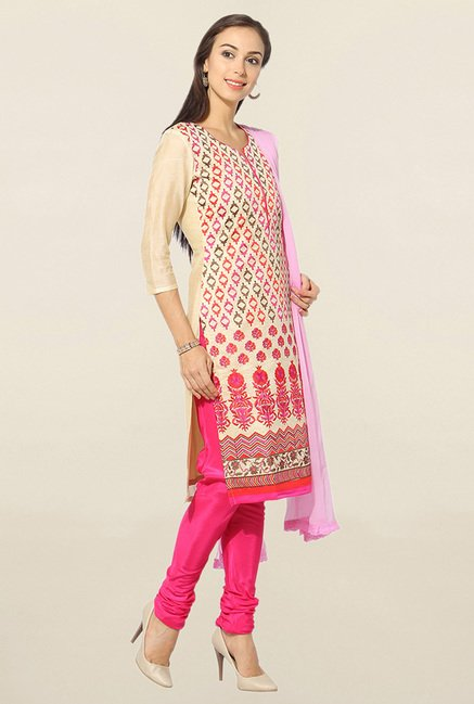 Jashn Beige & Pink Embroidered Chanderi Dress Material