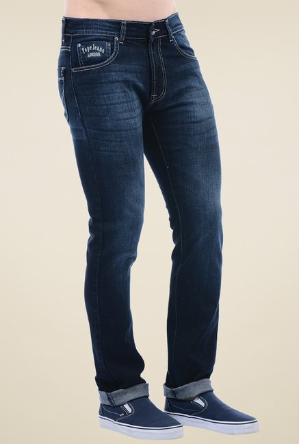 Pepe Jeans Dark Blue Slim Fit Cotton Jeans