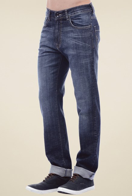 Pepe Jeans Dark Blue Mid Rise Cotton Jeans