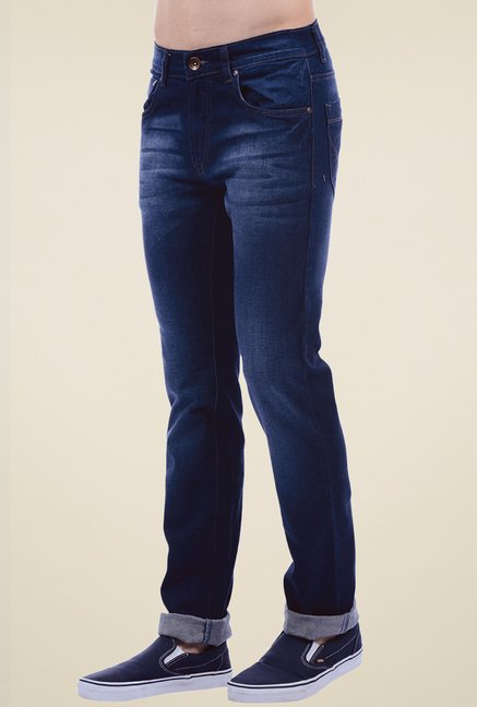 Pepe Jeans Dark Blue Slim Fit Mid Rise Cotton Jeans