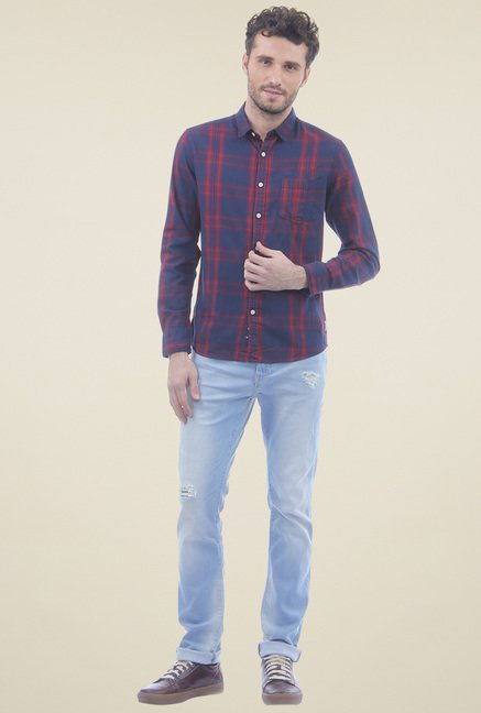 Flying Machine Light Blue Cotton Slim Fit Jeans