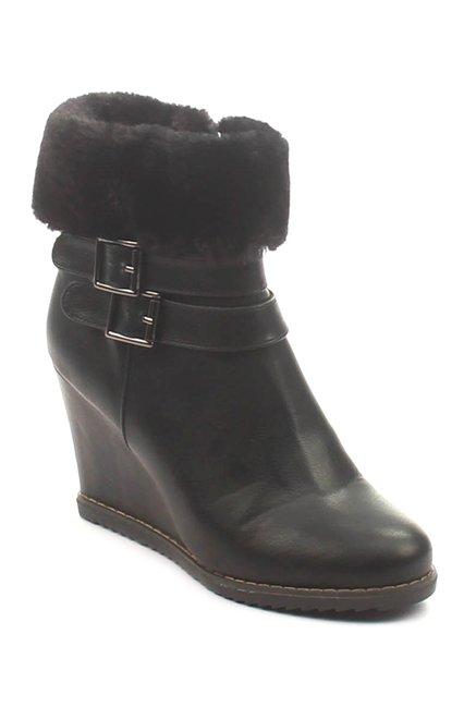 Pavers England Black Wedge Heeled Snow Boots