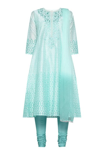 Vark by Westside Turquoise Embroidered Suit Set