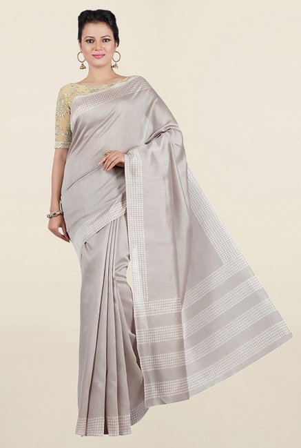 Jashn Grey Solid Tussar Saree