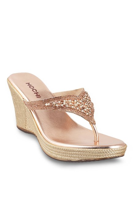 fafe38838 Buy Mochi Antique Gold Thong Wedges for Women at Best Price   Tata CLiQ