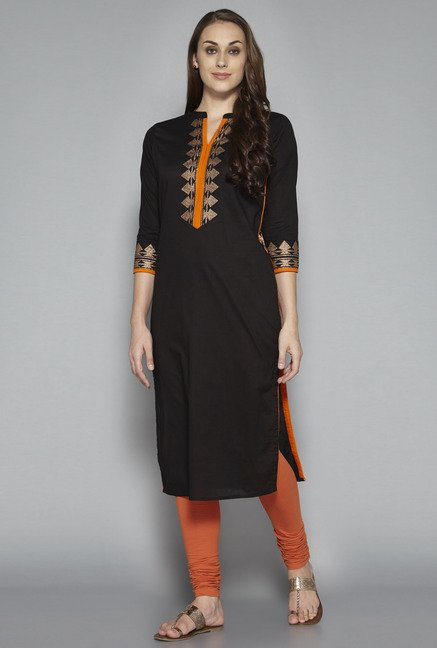 Utsa by Westside Black Printed Kurta