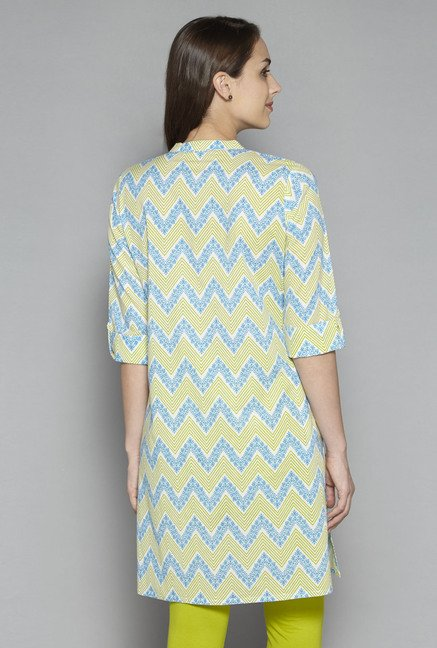 Utsa by Westside Blue Chevron Print Kurta