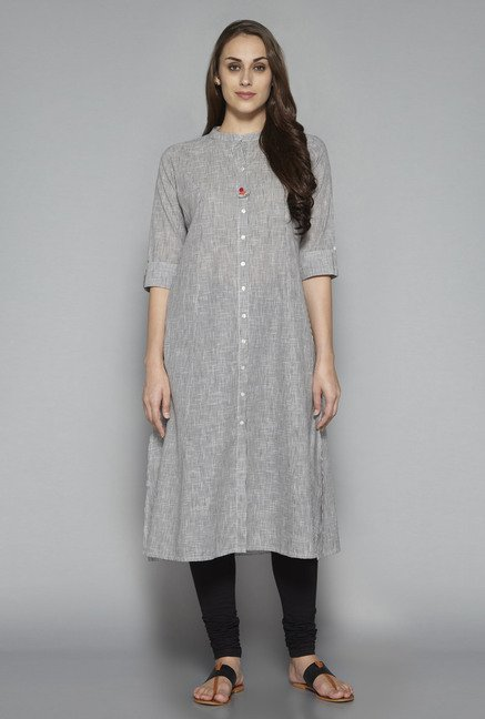 Utsa by Westside Grey Checks Kurta