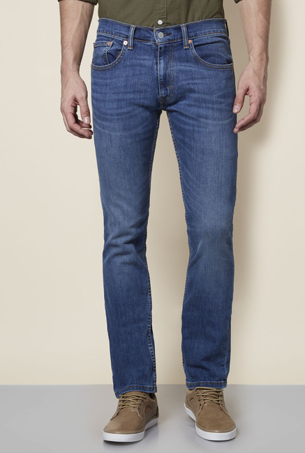 Levi's 65504 Blue Lightly Washed Mid Rise Skinny Fit Jeans