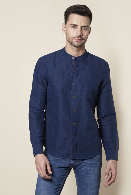 271306a4b Buy Levi's Royal Blue Mandarin Collar Cotton Shirt for Men Online @ Tata  CLiQ