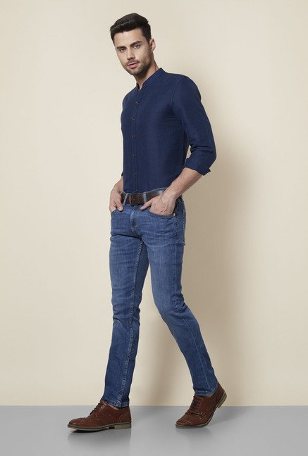 3551cfe54 Buy Levi's Royal Blue Mandarin Collar Cotton Shirt for Men Online ...
