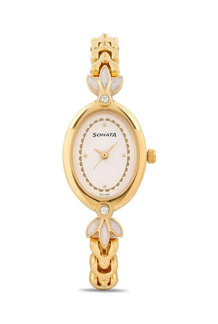 Sonata 8091YM01C Wedding Analog White Dial Women's Watch (8091YM01C)
