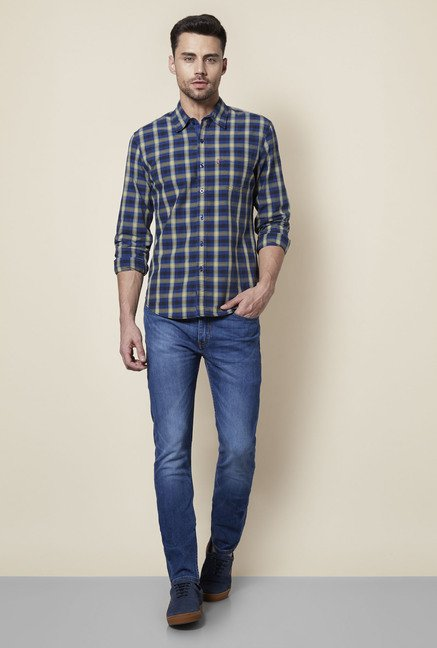 Levi's Blue & Taupe Checks Regular Fit Cotton Shirt