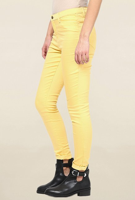 Vero Moda Yellow Slim Fit Raw Denim Jeans